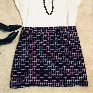 Loft red, blue, white knit miniskirt with buttons
